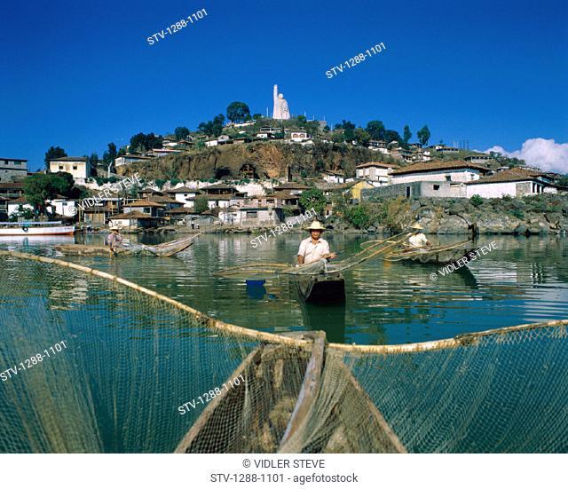 Fishermen, Fishing, Hat, Holiday, Island, Janitzio, Lake, Landmark, Mexico, Morelos, Nets, Patzcuaro, People, Sculpture, Statue