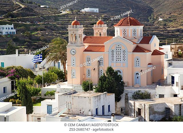 Red domed church in the mountain village of Pyrgos, Tinos Island, Cyclades Islands, Greek Islands, Greece, Europe