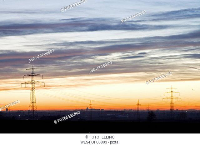 Germany, Bavaria, Munich, Pylons at sunset