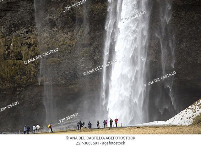 Waterfall Seljalandsfoss in winter, Iceland
