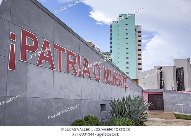 Catchword in Anti-imperialist Tribune Jose Marti, Vedado district, La Habana, Cuba