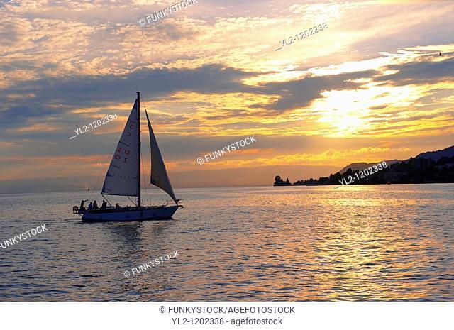 Sunset over Lac Leman lake Geneva - Montraux Switzerland