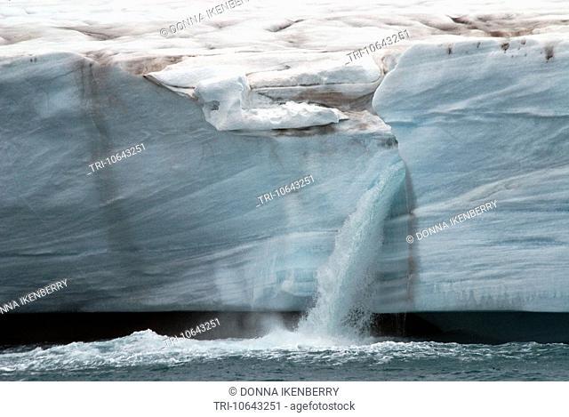 Brasvellbreen Ice Cliffs and waterfalls Vegatonna Ice Cap Nordaustlandet Norway