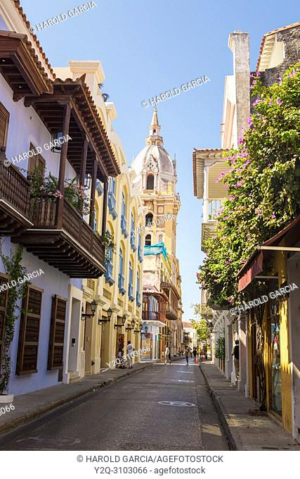 Street with colonial houses and at the end the tower of the Cathedral Basilica of Saint Catherine of Alexandria in the ancient walled city of Cartagena de...