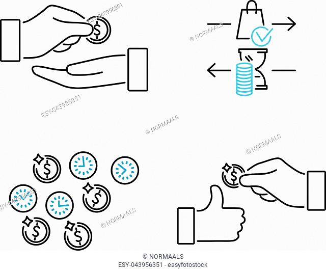 Accounts receivable vector icons set. Loan and debt buying business. Hands with giving payment and get earning in a time period