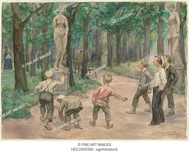 Sporting competition in the Imperial Gardens: Petrograd, July 1921 (from the series of watercolors R Artist: Vladimirov, Ivan Alexeyevich (1869-1947)