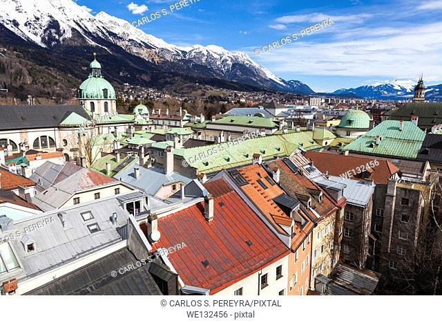 Innsbruck, view over city with cathedral of St. Jacob, Tyrol, Austria