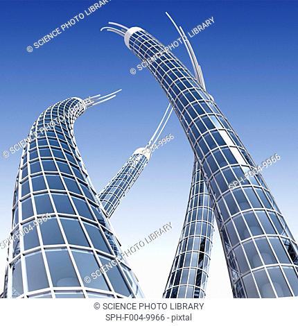 Futuristic skyscrapers, computer artwork