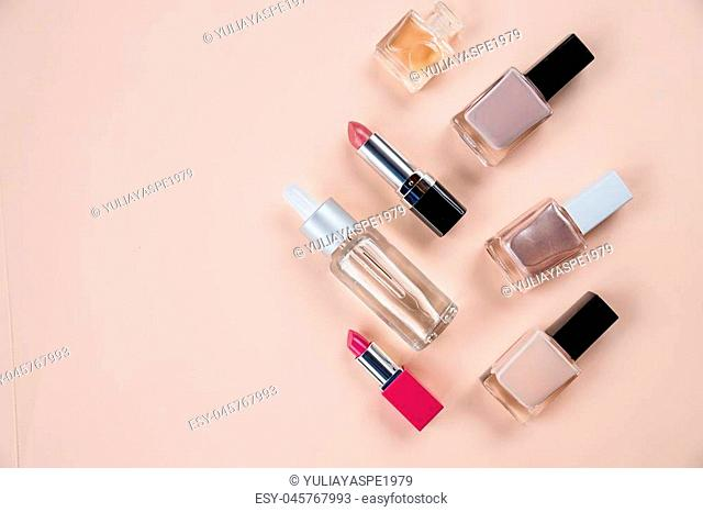 Close up view of cosmetic theme objects on white background