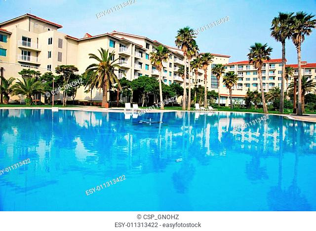 Huge swimming pool with luxurious resorts