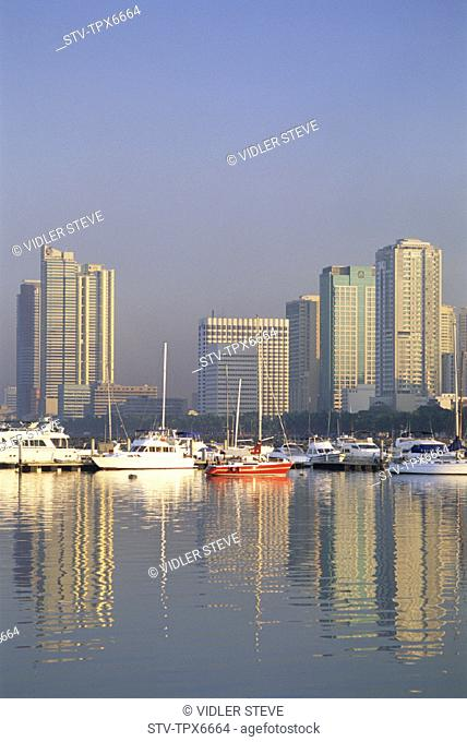 Asia, Boats, Buildings, City, Holiday, Landmark, Manila, Manila bay, Modern, Philippines, Asia, Reflection, Sea, Skyline, Skyscr