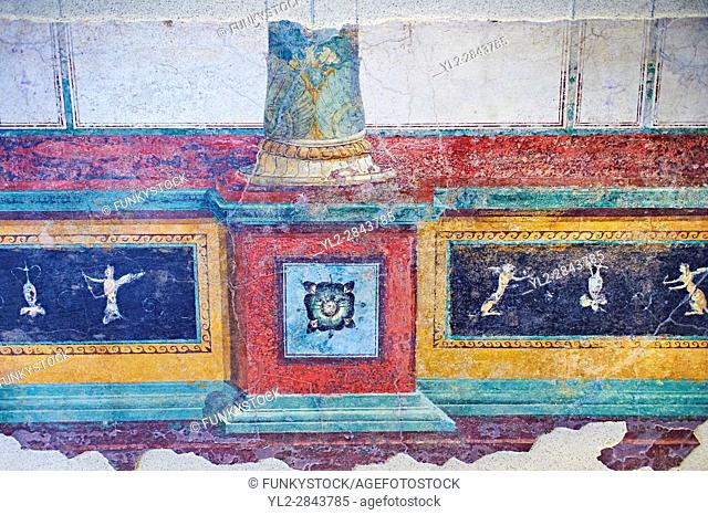 Roman fresco wall decorations of cryptoporticus A of the Villa Farnesia, Rome. Museo Nazionale Romano ( National Roman Museum), Rome, Italy.