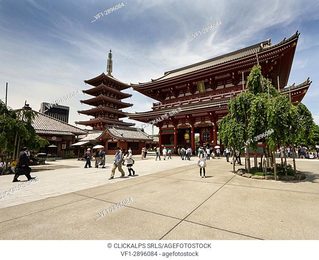 The Hanzomon door and the 5-story Pagoda are located in the Sensoji temple. Tokyo, Japan