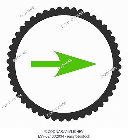 Arrow Axis X flat eco green and gray colors round stamp icon