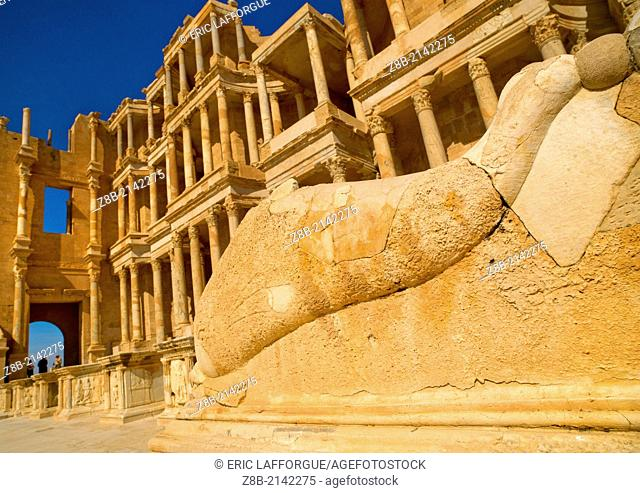 SABRATHA, LIBYA - APRIL 22: Sabratha was one of the three cities of Tripolis, it lies on the Mediterranean coast west of Tripoli