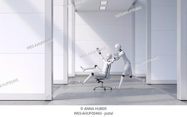 Robot pushing a cheering friend on a chair through the office