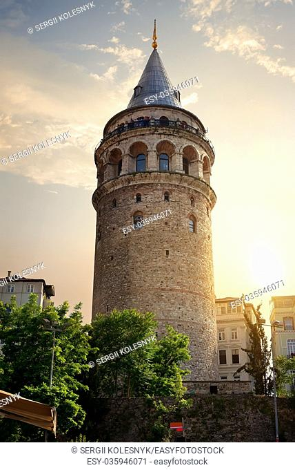 Famous Galata Tower at sunset in Istanbul, Turkey