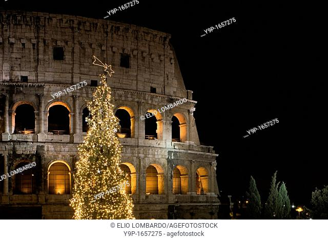 Colosseum at Christmas time, Rome, Latium, Italy