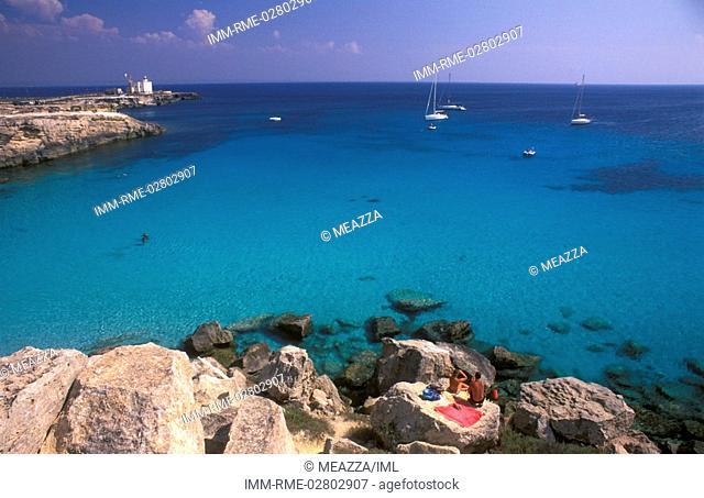 Cala Azzurra, sailing boats, Favignana, Egadi Islands, Sicily, Italy, Europe