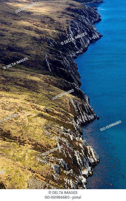 Aerial view of West Falkland island, Port Stanley, Falkland Islands, South America