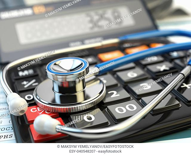 Health care costs concept. Stethoscope and calculator of medical insurance. Medical background. 3d illustration