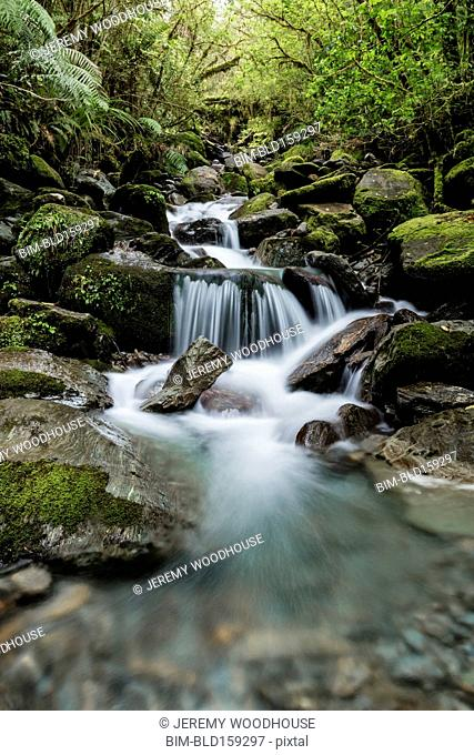 Blurred motion view of waterfall in forest river