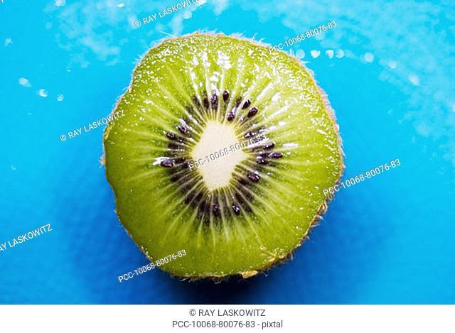 Close-up of a kiwi cut in half