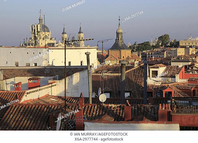 Rooftops of buildings in La Latina barrio, Madrid city centre, Spain view to cathedral