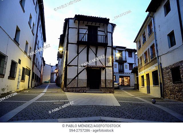 Framework houses in a square of Covarrubias, Burgos, Spain