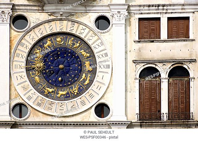 Italy, Venice, St Marcus Square, Tower, Zodiac signs
