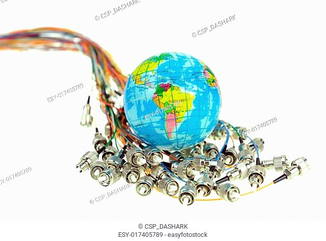 world map technology style with against fiber optic nut