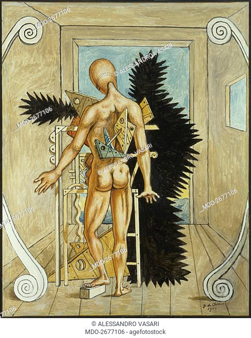 The Remorse of Orestes (Il rimorso di Oreste), by Giorgio De Chirico, 1969, 20th Century, oil on canvas, 90 x 70 cm. Italy, Lazio, Rome, De Chirico Home-Museum