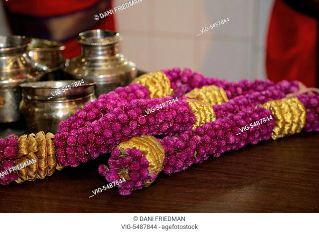Floral garlands near the shrine of the Goddess Mariamman (Goddess Kali) at a Tamil Hindu temple in Ontario, Canada. Goddess Mariamman is considered by many to...