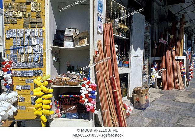 Shops with Religious Souvenirs, Tinos, Cyclades, Greece, Europe