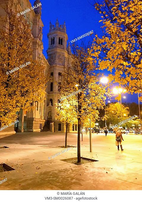 Cibeles Square, night view. Madrid, Spain