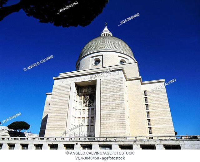 Back side of Basilica dei Santi Pietro e Paolo, Church of St Peter & Paul, Arnaldo Foschini 1939 / 1955, Rome, EUR, Italy
