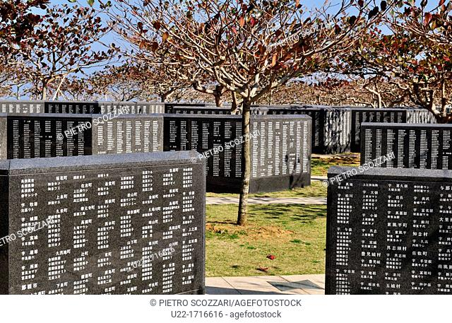 Okinawa, Japan: victims names at the Peace Memorial, to remember the many Japanese people that committed suicide during the American invasion Okinawa's Battle
