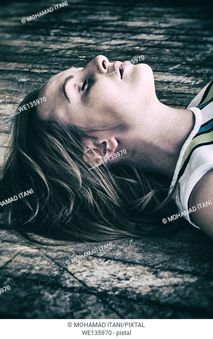 Dead woman on the floor
