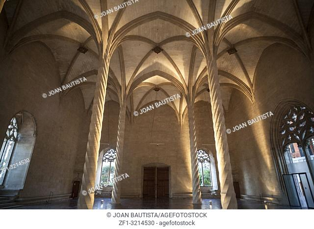 Interior building Sa Llotja, gothic architecture in Palma de Mallorca,Balearic Islands