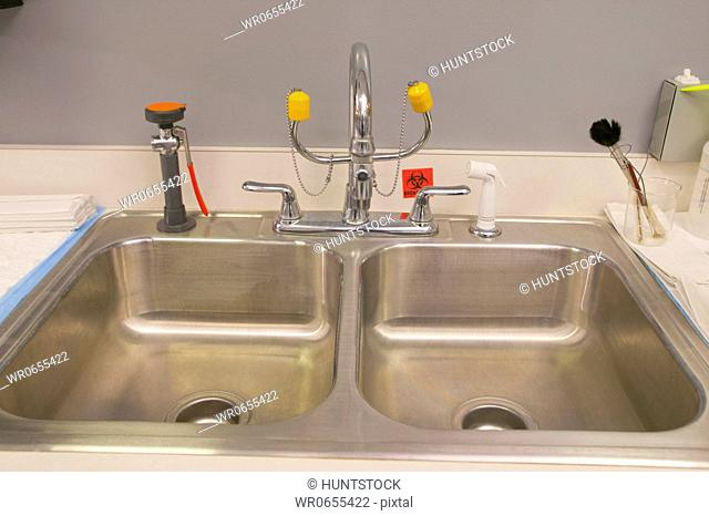 Close-up of a sink in a laboratory