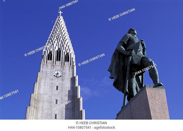 Church, Hallgrimskirkja Church, Leifur Eriksson statue, Iceland, Europe, Arctic, Reykjavik