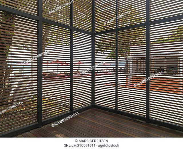 Louvered partitions at The Library resort; Hat Chaweng