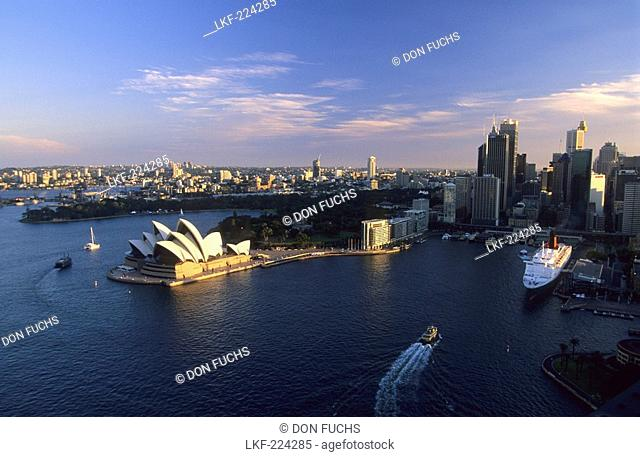 View at the city, the harbour and the Opera House in the sunlight, Sydney, New South Wales, Australia