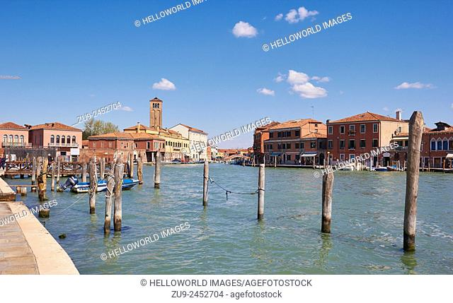 Murano island canal scene, Venetian Lagoon, Veneto, Italy, Europe