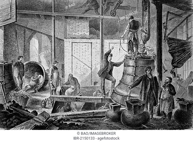 Cast room of a bell foundry, historical woodcut, circa 1870
