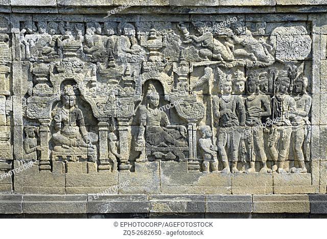 Indonesia-Java-Borobudur, Shiva four armed seated on Lotus under a tree with Devotees
