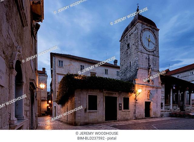 Clock tower in Trogir, Dalmatia, Croatia
