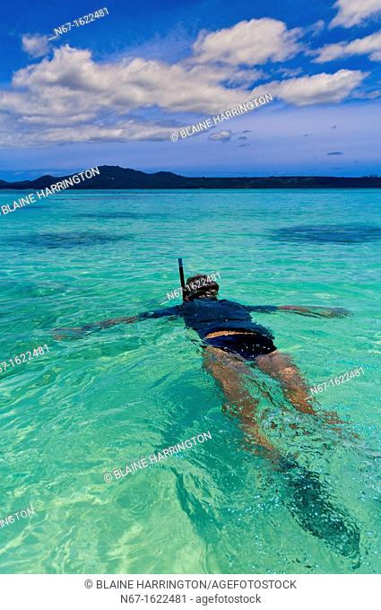Snorkeling, Brush Island, New Caledonia Barrier Reef off Ile des Pins Isle of Pines, New Caledonia