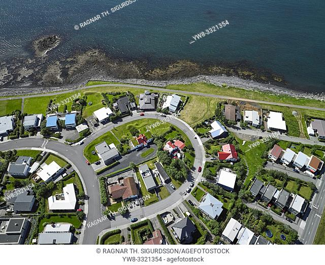 Neighborhood in Reykjavik, Iceland. . This image is shot using a drone