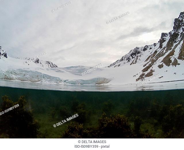 Over-under view of Fuglefjorden, Spitsbergen, Svalbard, Norway